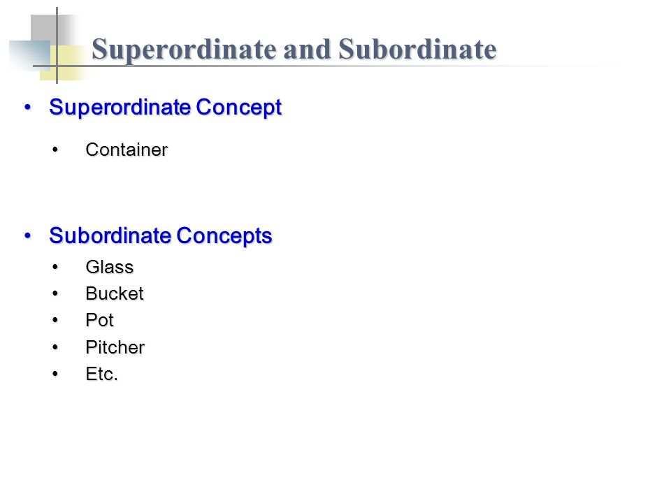 Superordinate ConceptSuperordinate Concept Superordinate and Subordinate ContainerContainer Subordinate ConceptsSubordinate Concepts GlassGlass BucketBucket PotPot PitcherPitcher Etc.Etc.