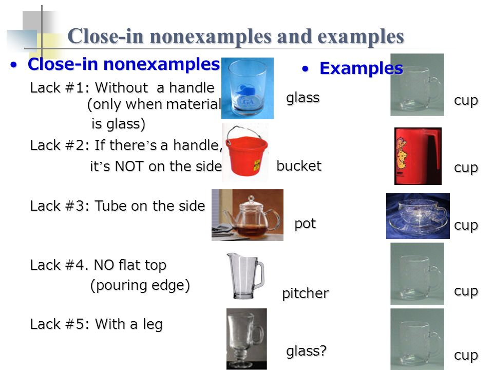 Close-in nonexamples and examples Close-in nonexamplesClose-in nonexamples Lack #1: Without a handle (only when material is glass) is glass) Lack #2: If there s a handle, it s NOT on the side it s NOT on the side Lack #3: Tube on the side Lack #4.