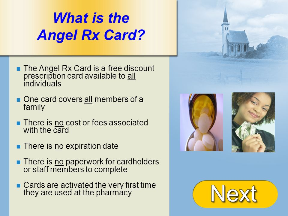 + What is the Angel Rx Card? The Angel Rx Card is a free discount prescription card available to all individuals One card covers all members of a fami