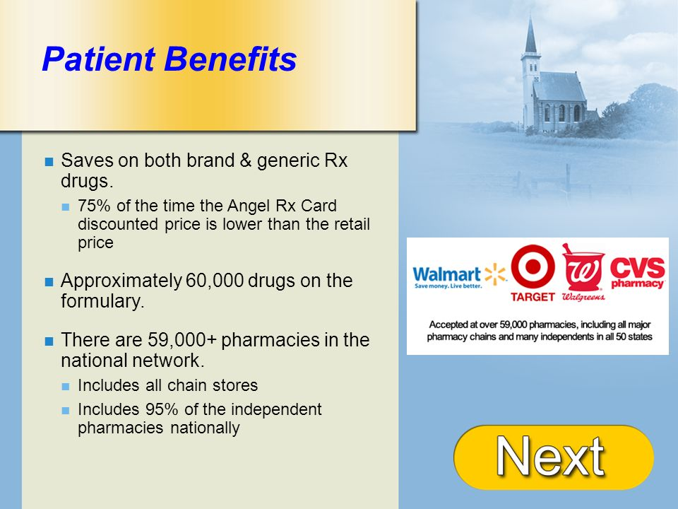 + Patient Benefits Saves on both brand & generic Rx drugs. 75% of the time the Angel Rx Card discounted price is lower than the retail price Approxima