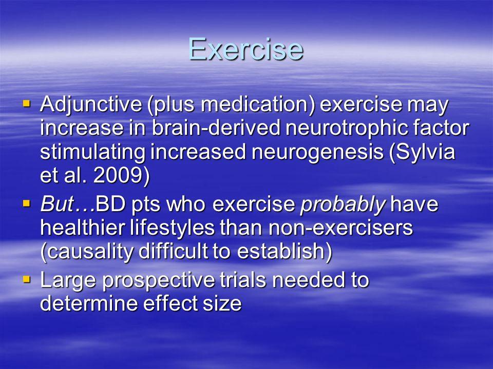 Exercise Adjunctive (plus medication) exercise may increase in brain-derived neurotrophic factor stimulating increased neurogenesis (Sylvia et al. 200