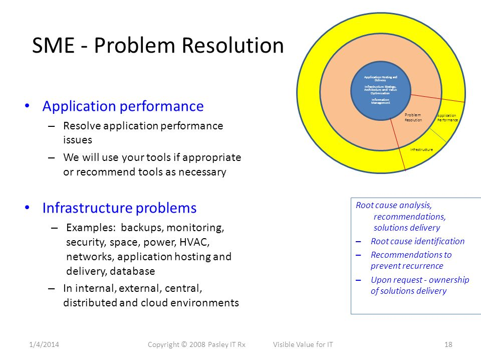 SME - Problem Resolution Application performance – Resolve application performance issues – We will use your tools if appropriate or recommend tools as necessary Infrastructure problems – Examples: backups, monitoring, security, space, power, HVAC, networks, application hosting and delivery, database – In internal, external, central, distributed and cloud environments Application Hosting and Delivery Infrastructure Strategy, Architecture and Value Optimization Information Management Problem Resolution Application Performance Infrastructure Root cause analysis, recommendations, solutions delivery – Root cause identification – Recommendations to prevent recurrence – Upon request - ownership of solutions delivery 1/4/201418Copyright © 2008 Pasley IT Rx Visible Value for IT