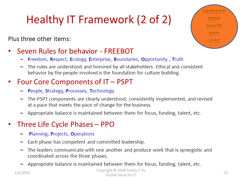 Healthy IT Framework (2 of 2) 1/4/2014 Copyright © 2008 Pasley IT Rx Visible Value for IT 23 Plus three other items: Seven Rules for behavior - FREEBOT – Freedom, Respect, Ecology, Enterprise, Boundaries, Opportunity, Truth – The rules are understood and honored by all stakeholders.