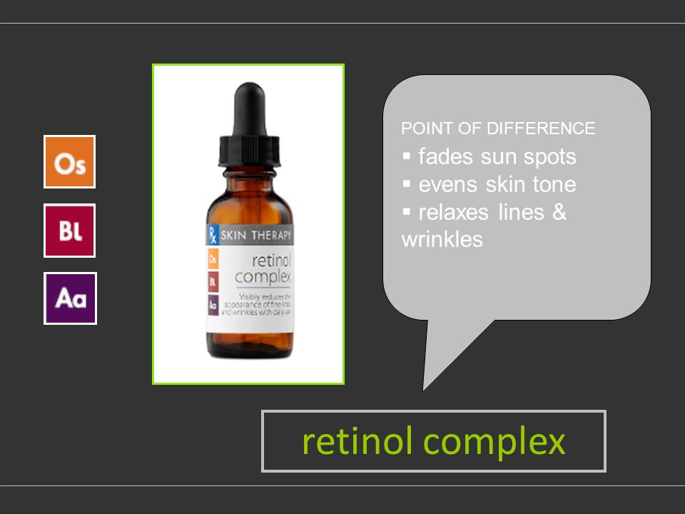 POINT OF DIFFERENCE fades sun spots evens skin tone relaxes lines & wrinkles retinol complex