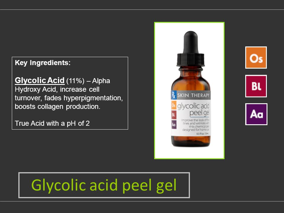 Glycolic acid peel gel Key Ingredients: Glycolic Acid (11%) – Alpha Hydroxy Acid, increase cell turnover, fades hyperpigmentation, boosts collagen production.