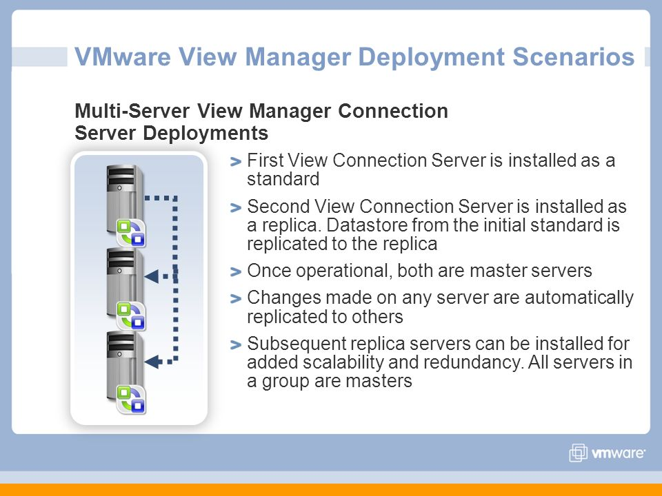 VMware View Manager Deployment Scenarios Multi-Server View Manager Connection Server Deployments First View Connection Server is installed as a standa
