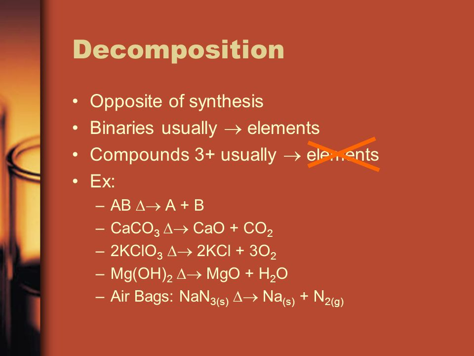 Decomposition Opposite of synthesis Binaries usually elements Compounds 3+ usually elements Ex: –AB A + B –CaCO 3 CaO + CO 2 –2KClO 3 2KCl + 3O 2 –Mg(