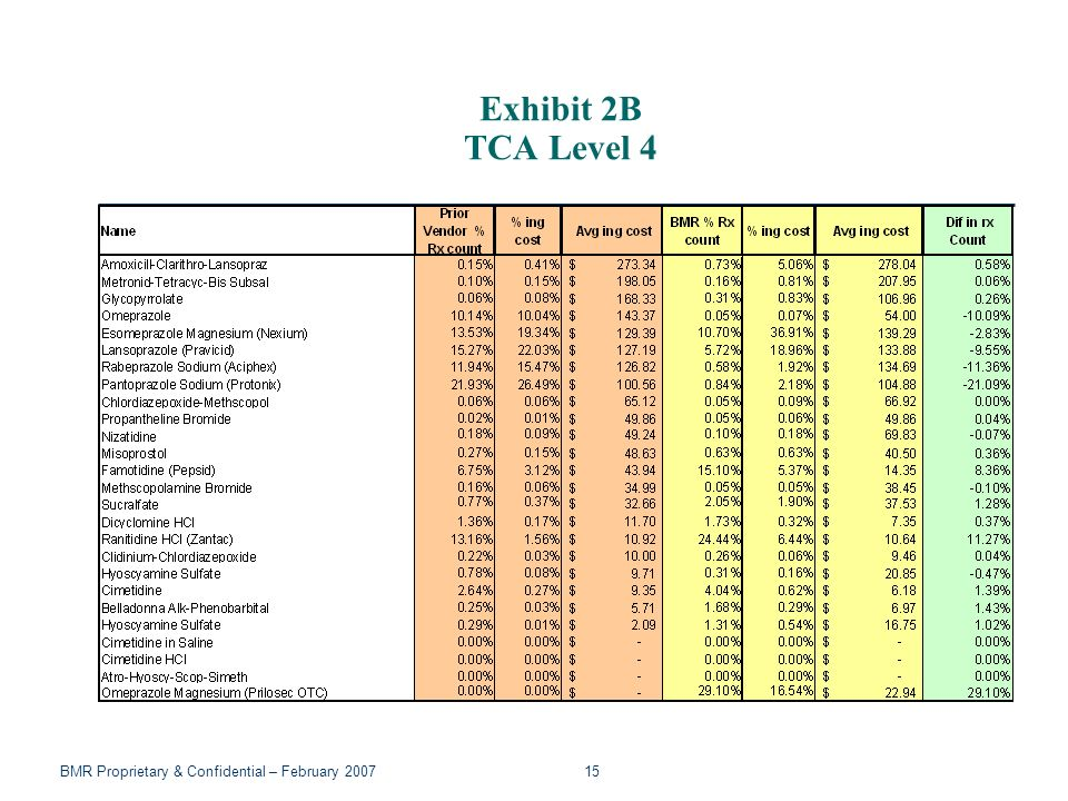 BMR Proprietary & Confidential – February 2007 15 Exhibit 2B TCA Level 4
