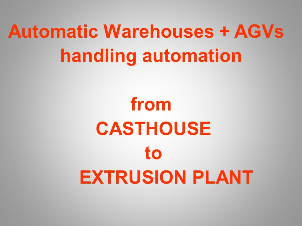 ALUMINIUM SCENARIO Main Products: Slabs & Plate; Coil Sheets Dies Profile Handling Solution: Automatic Warehouse AGVs Automatic Crane Subjects: A)Smelter; B)Extruder C)Metals dealers