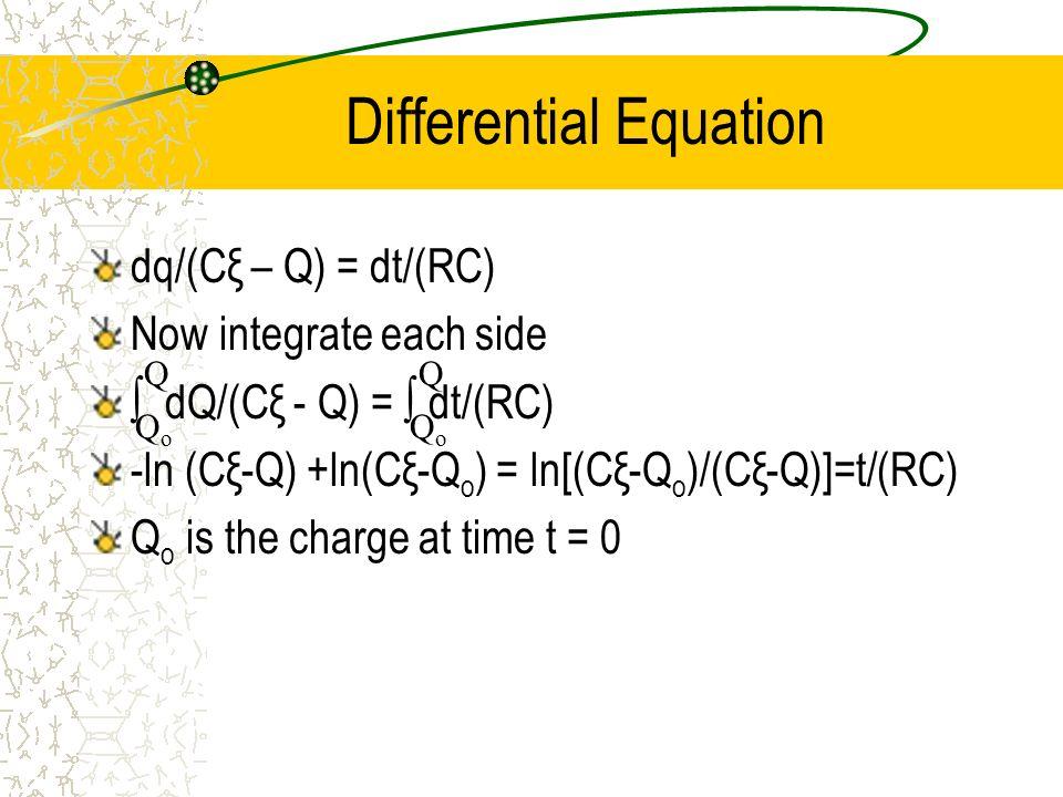 Differential Equation dq/(Cξ – Q) = dt/(RC) Now integrate each side dQ/(Cξ - Q) = dt/(RC) -ln (Cξ-Q) +ln(Cξ-Q o ) = ln[(Cξ-Q o )/(Cξ-Q)]=t/(RC) Q o is