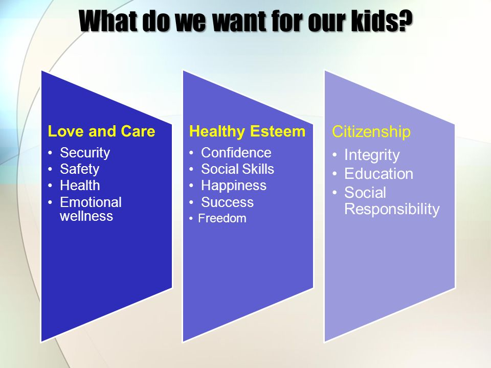 What do we want for our kids? Love and Care Security Safety Health Emotional wellness Healthy Esteem Confidence Social Skills Happiness Success Freedo