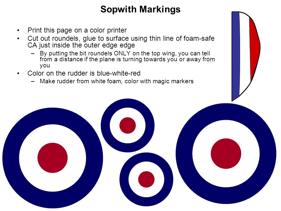 Sopwith Markings Print this page on a color printer Cut out roundels, glue to surface using thin line of foam-safe CA just inside the outer edge edge