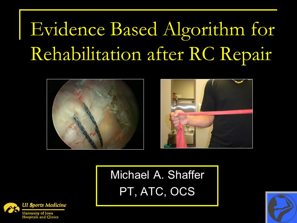 Evidence Based Algorithm for Rehabilitation after RC Repair Michael A. Shaffer PT, ATC, OCS