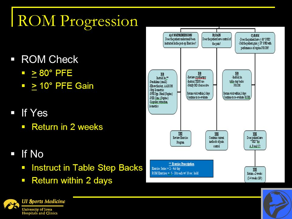 ROM Progression ROM Check > 80° PFE > 10° PFE Gain If Yes Return in 2 weeks If No Instruct in Table Step Backs Return within 2 days