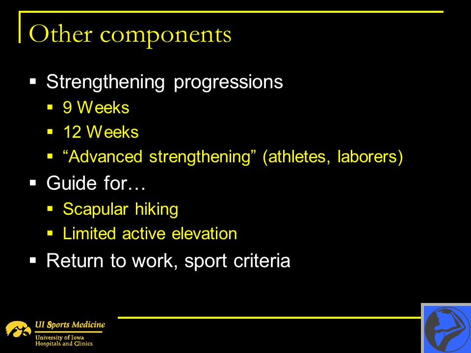 Other components Strengthening progressions 9 Weeks 12 Weeks Advanced strengthening (athletes, laborers) Guide for… Scapular hiking Limited active ele