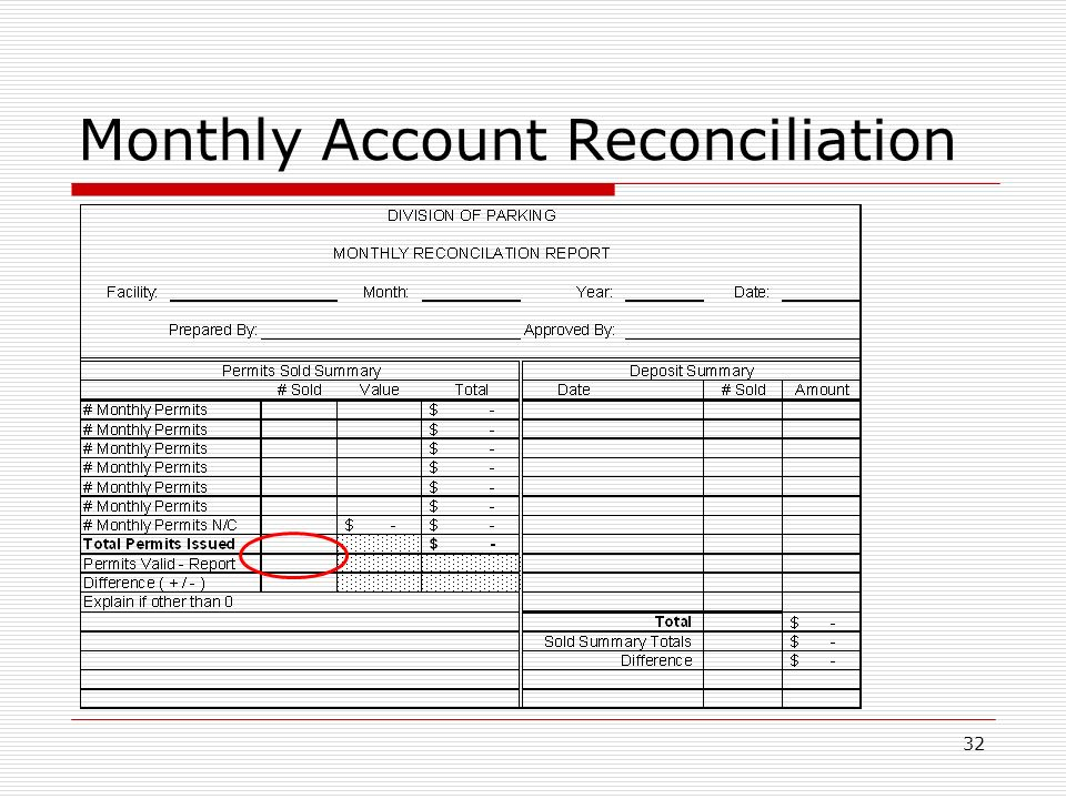 32 Monthly Account Reconciliation