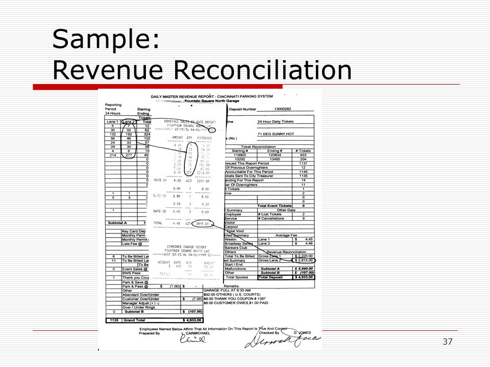 37 Sample: Revenue Reconciliation