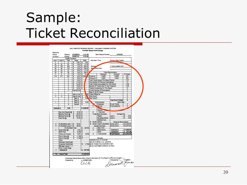 39 Sample: Ticket Reconciliation