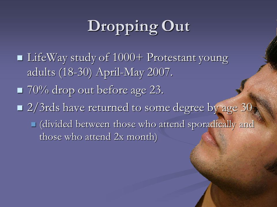 Dropping Out LifeWay study of 1000+ Protestant young adults (18-30) April-May 2007. LifeWay study of 1000+ Protestant young adults (18-30) April-May 2