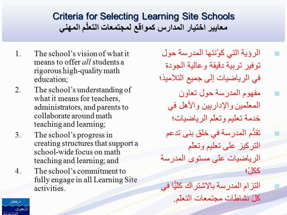 Learning Site Schools Learning Site Schools المدارس كمواقع لمجتمعات التعلّم المهني