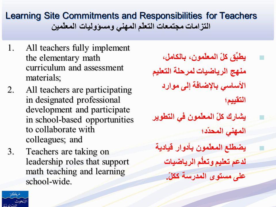 Criteria for Selecting Learning Site Schools Criteria for Selecting Learning Site Schools معايير اختيار المدارس كمواقع لمجتمعات التعلُّم المهني 1.The