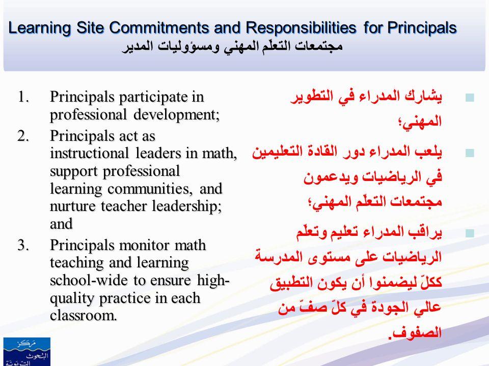 Learning Site Commitments and Responsibilities for Teachers Learning Site Commitments and Responsibilities for Teachers التزامات مجتمعات التعلّم المهن