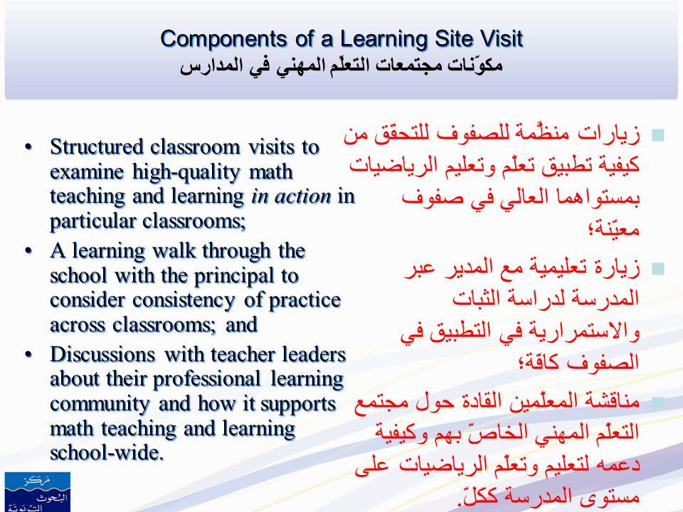 Learning Site Commitments and Responsibilities for Schools مجتمعات التعلّم المهني ومسؤوليات المدارس 1.School structures that support professional lear