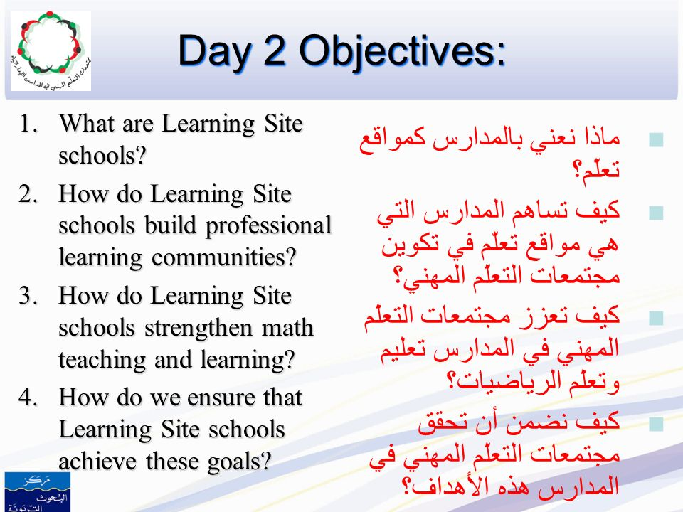 Organizing Schools and Districts for Rigorous Mathematics Instruction Day 2 تنظيم المدارس والمقاطعات حول التدريس الفعّال للرياضيات اليوم الثاني