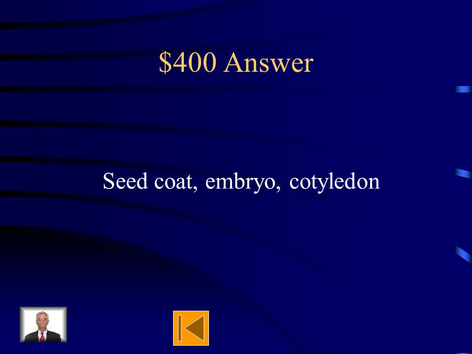 $400 Question Name the 3 parts of a seed.