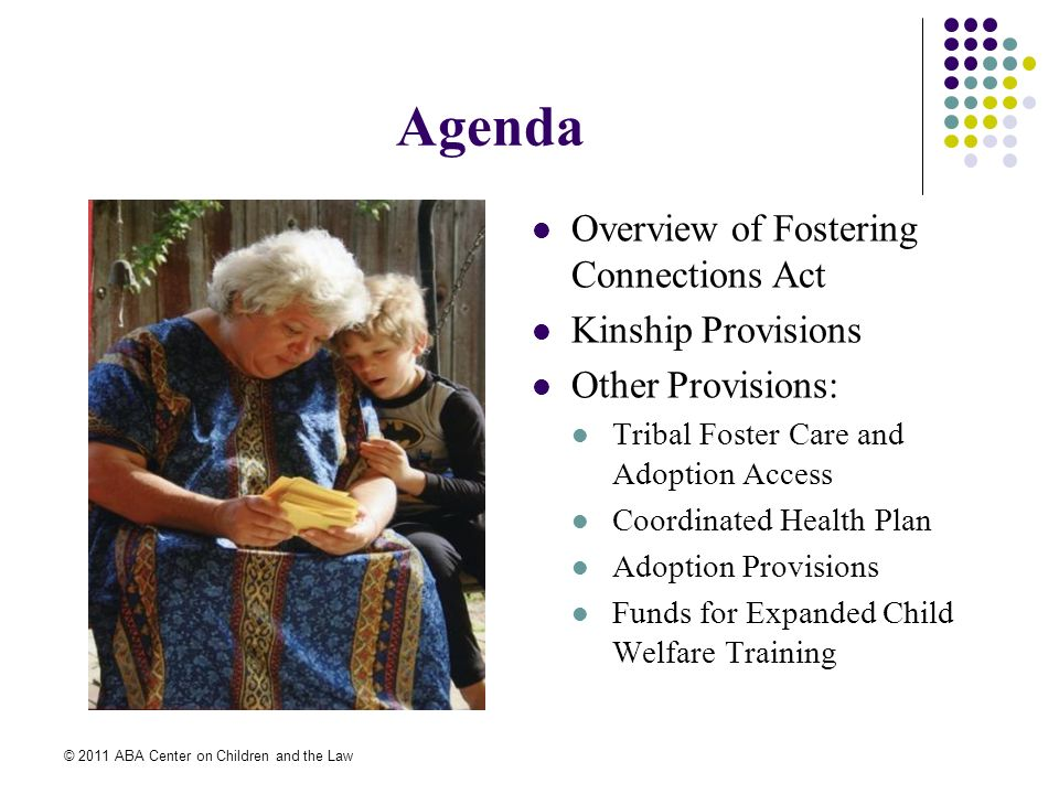 © 2011 ABA Center on Children and the Law Agenda Overview of Fostering Connections Act Kinship Provisions Other Provisions: Tribal Foster Care and Adoption Access Coordinated Health Plan Adoption Provisions Funds for Expanded Child Welfare Training