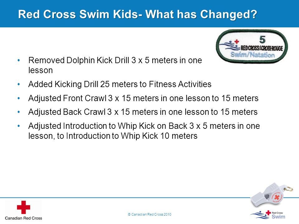 Red Cross Swim Kids- What has Changed? Removed Dolphin Kick Drill 3 x 5 meters in one lesson Added Kicking Drill 25 meters to Fitness Activities Adjus