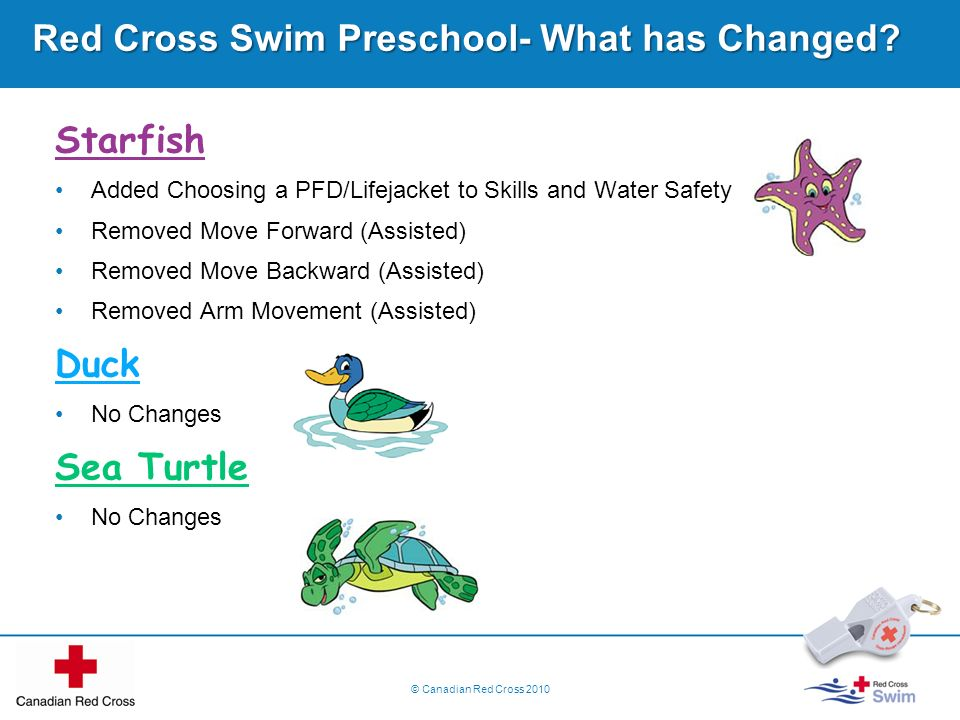 © Canadian Red Cross 2010 Red Cross Swim Preschool- What has Changed? Starfish Added Choosing a PFD/Lifejacket to Skills and Water Safety Removed Move