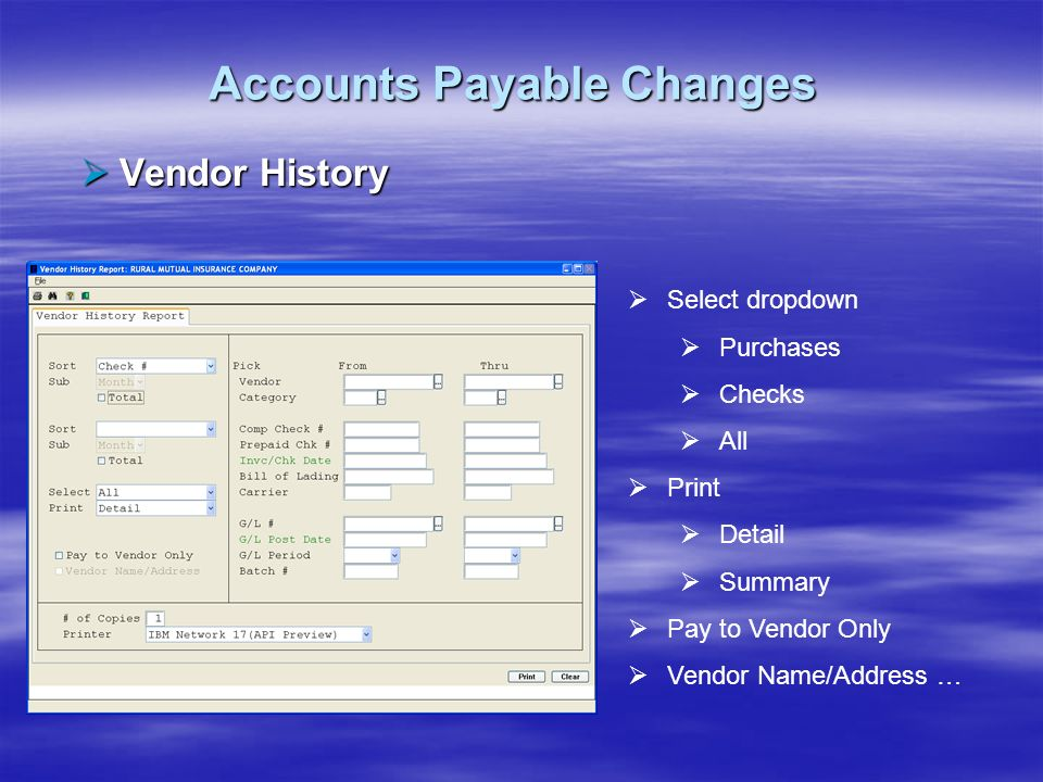 Accounts Payable Changes Vendor History Vendor History Select dropdown Purchases Checks All Print Detail Summary Pay to Vendor Only Vendor Name/Addres