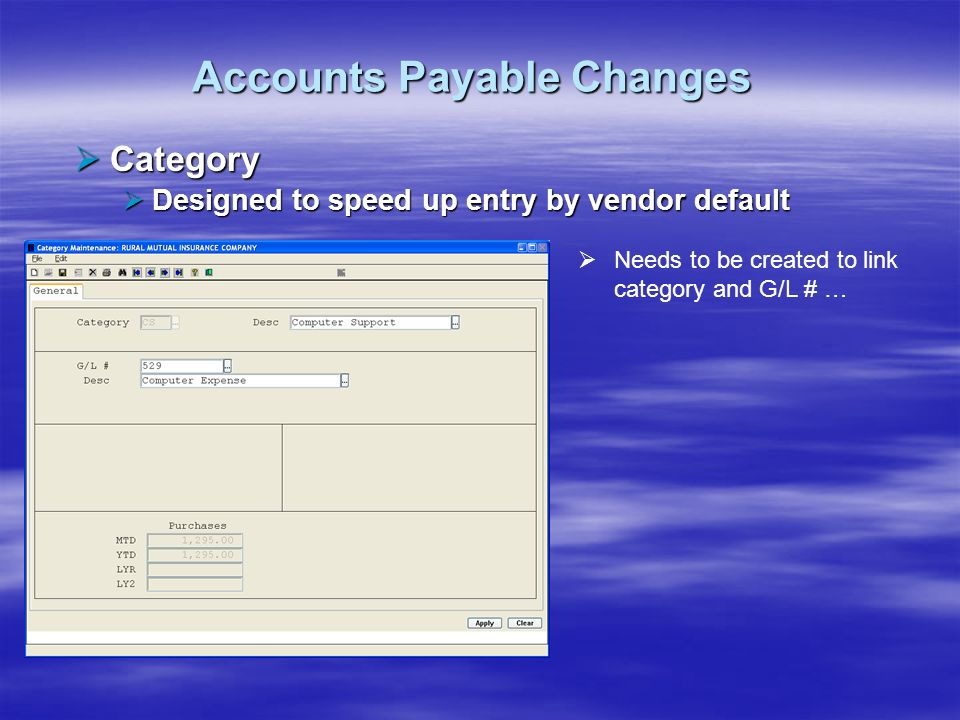 Accounts Payable Changes Category Category Designed to speed up entry by vendor default Designed to speed up entry by vendor default Needs to be creat
