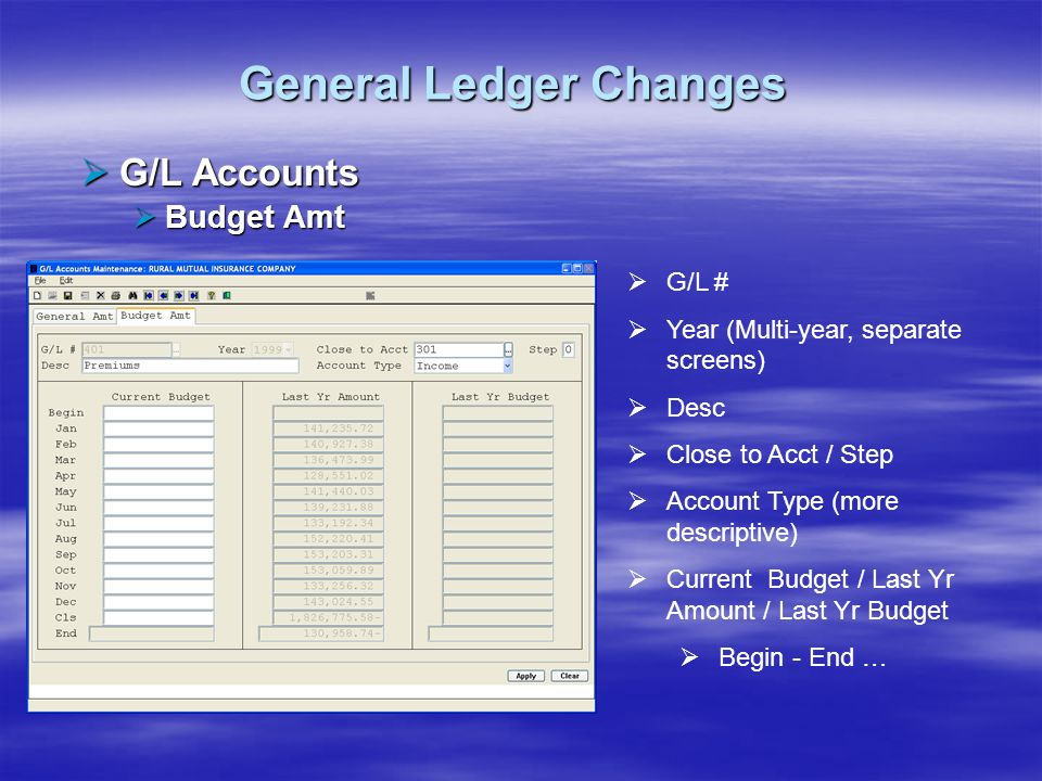 General Ledger Changes G/L Accounts G/L Accounts Budget Amt Budget Amt G/L # Year (Multi-year, separate screens) Desc Close to Acct / Step Account Typ