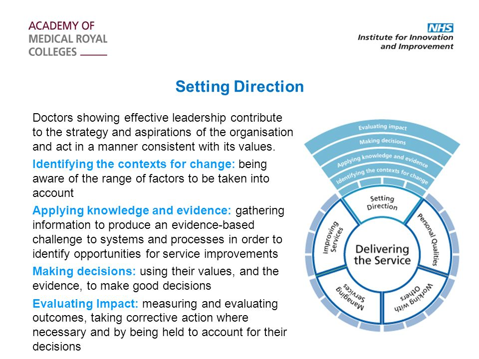 Doctors showing effective leadership contribute to the strategy and aspirations of the organisation and act in a manner consistent with its values.
