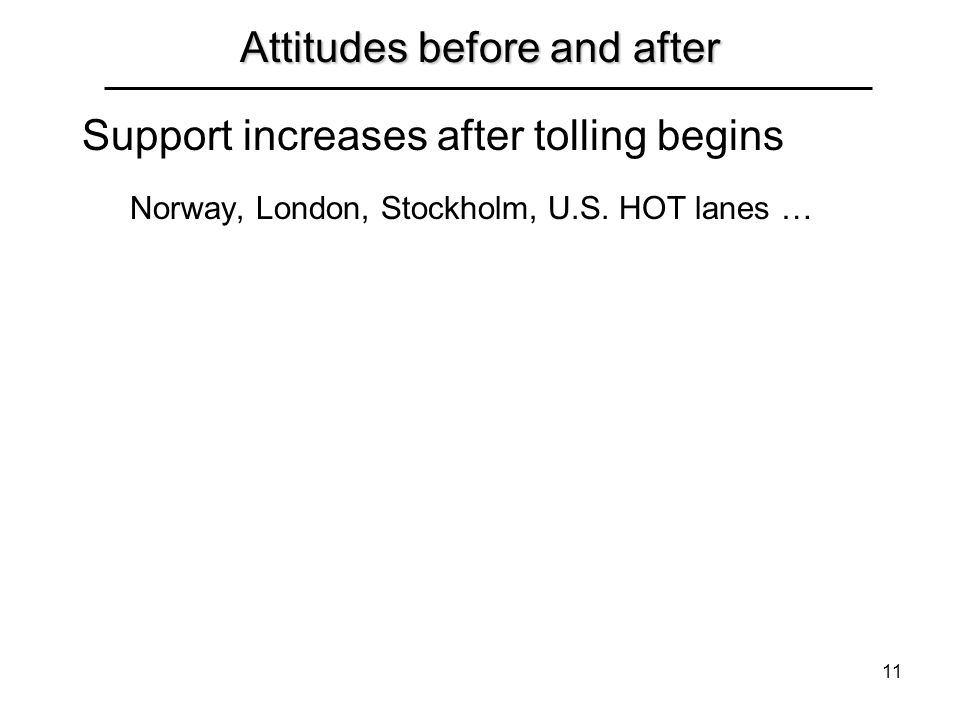 11 Attitudes before and after Support increases after tolling begins Norway, London, Stockholm, U.S. HOT lanes …