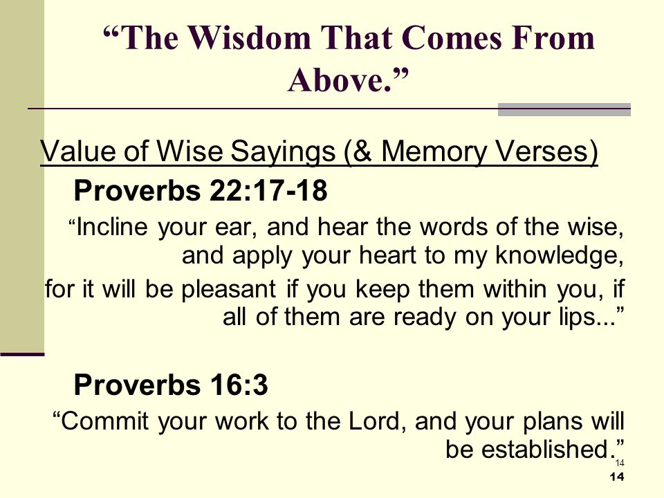 14 The Wisdom That Comes From Above.