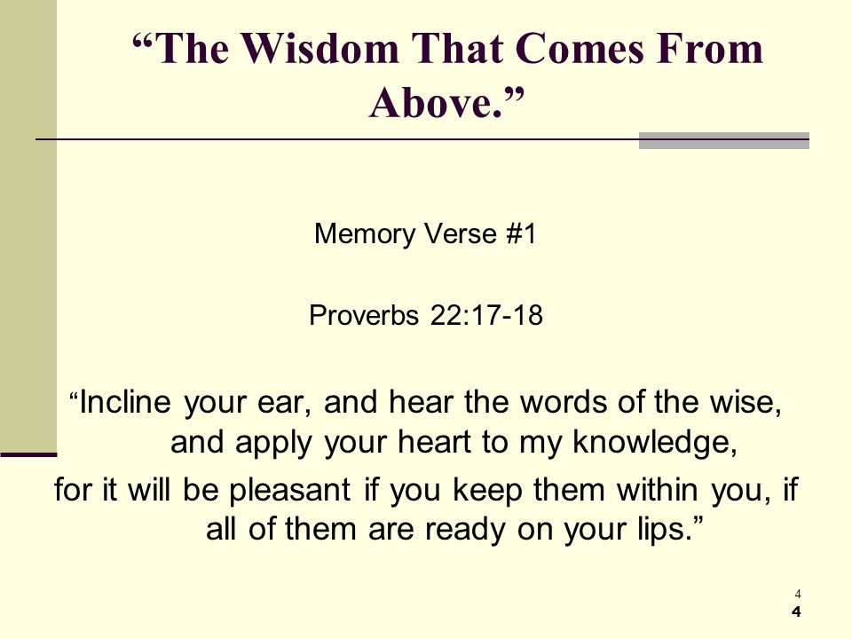 15 The Wisdom That Comes From Above.