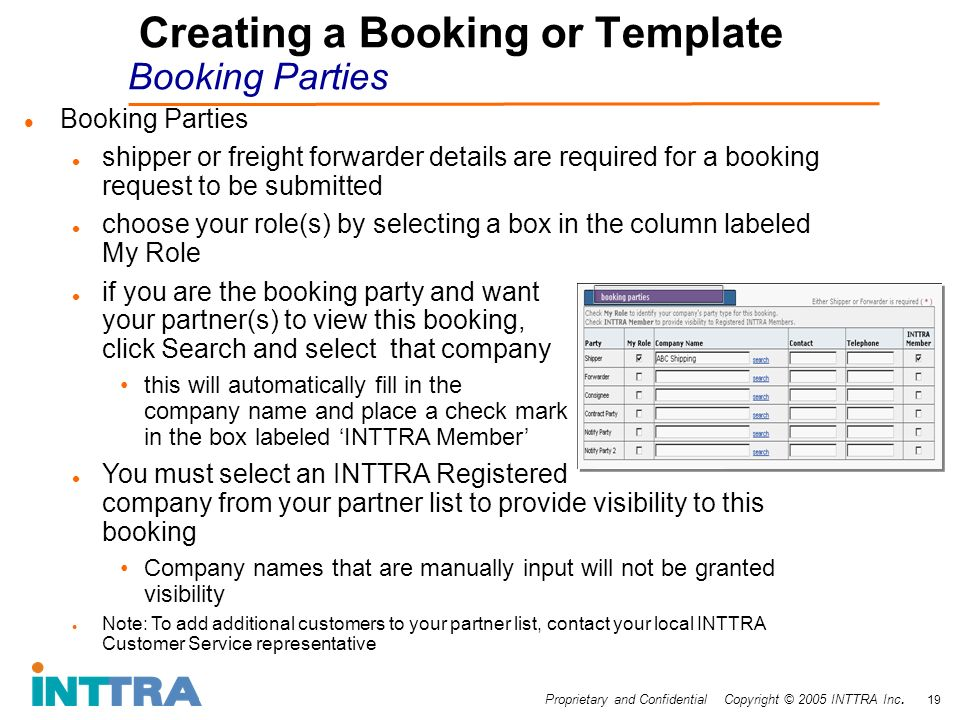 Proprietary and Confidential Copyright © 2005 INTTRA Inc. 19 Creating a Booking or Template Booking Parties Booking Parties shipper or freight forward