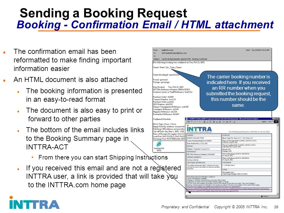 Proprietary and Confidential Copyright © 2005 INTTRA Inc. 26 Sending a Booking Request Booking - Confirmation Email / HTML attachment The confirmation