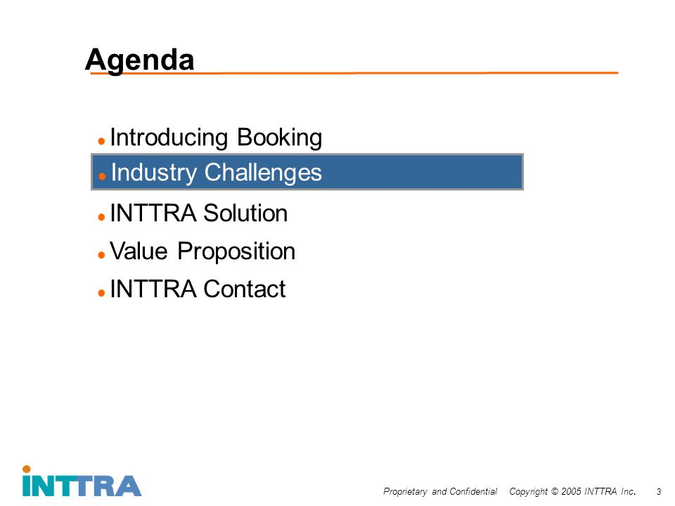 Proprietary and Confidential Copyright © 2005 INTTRA Inc. 3 Agenda Introducing Booking INTTRA Solution Value Proposition INTTRA Contact Industry Chall