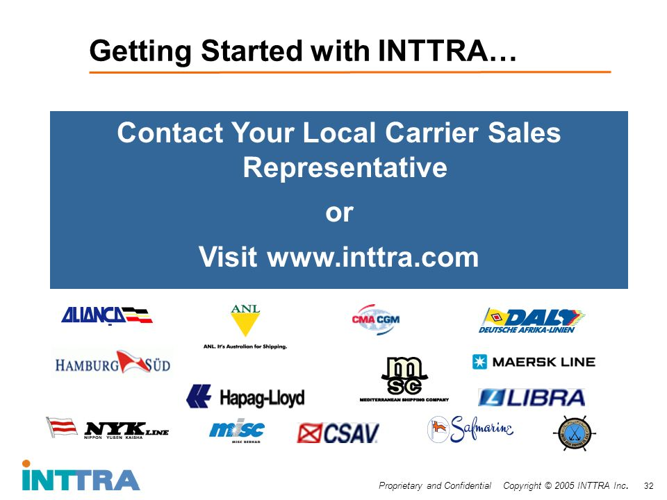 Proprietary and Confidential Copyright © 2005 INTTRA Inc. 32 Getting Started with INTTRA… Contact Your Local Carrier Sales Representative or Visit www
