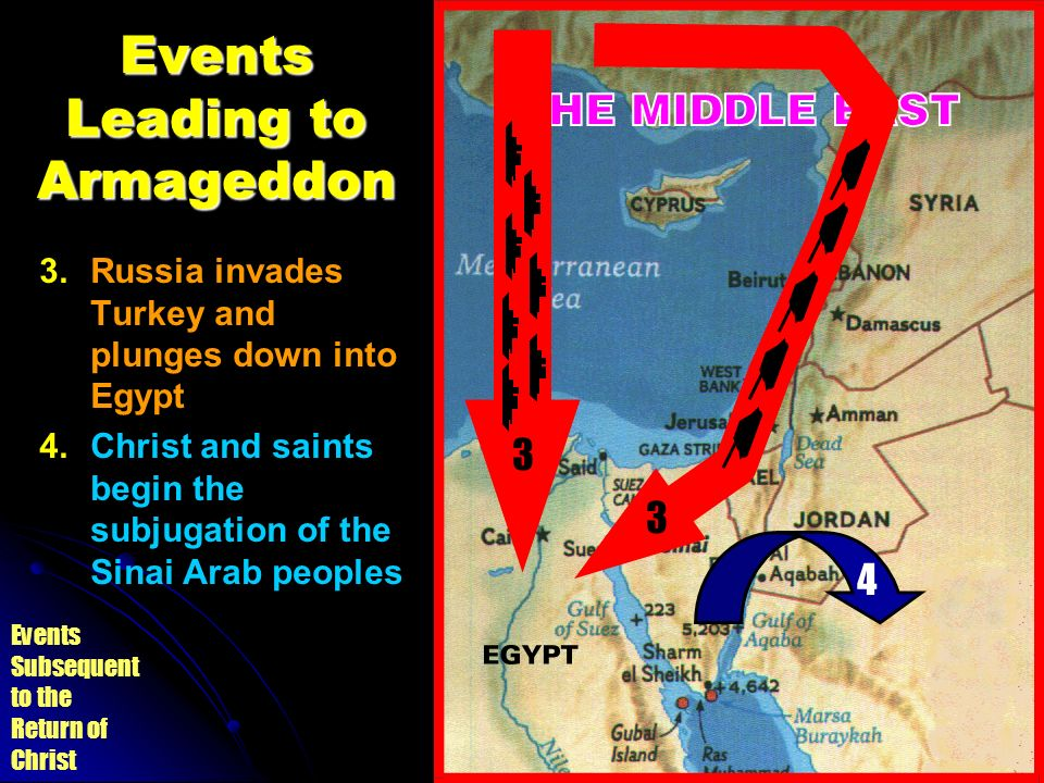 Events Subsequent to the Return of Christ Events Leading to Armageddon 3. 3.Russia invades Turkey and plunges down into Egypt 4. 4.Christ and saints b