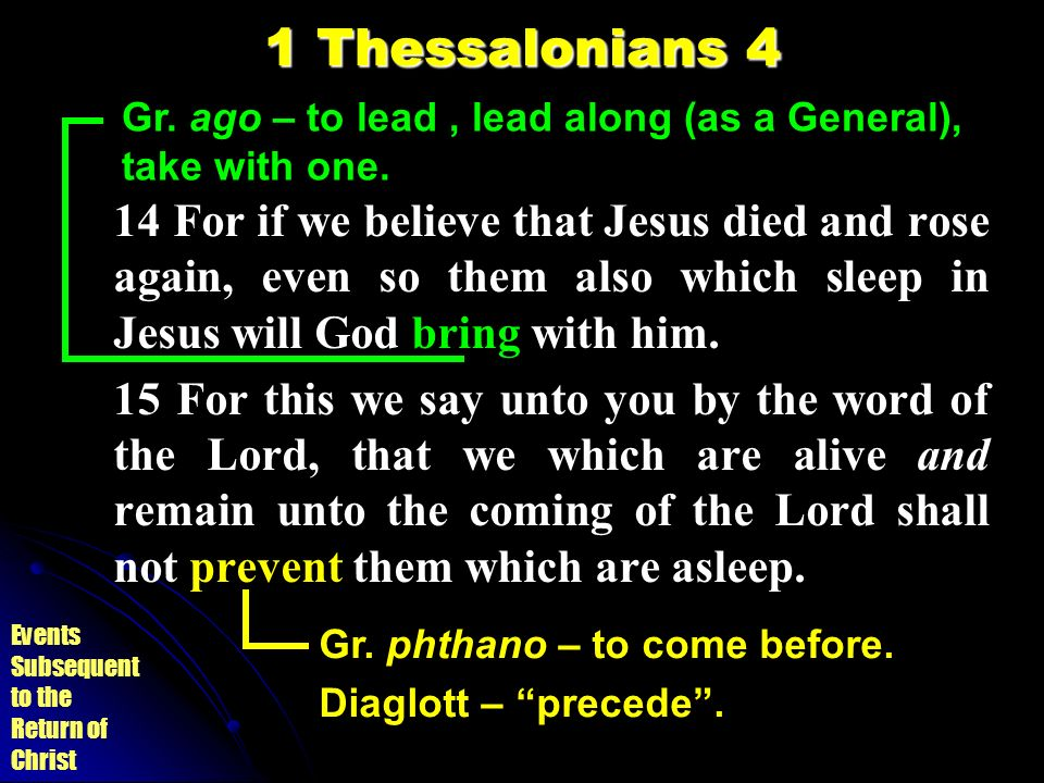Events Subsequent to the Return of Christ 1 Thessalonians 4 14 For if we believe that Jesus died and rose again, even so them also which sleep in Jesu