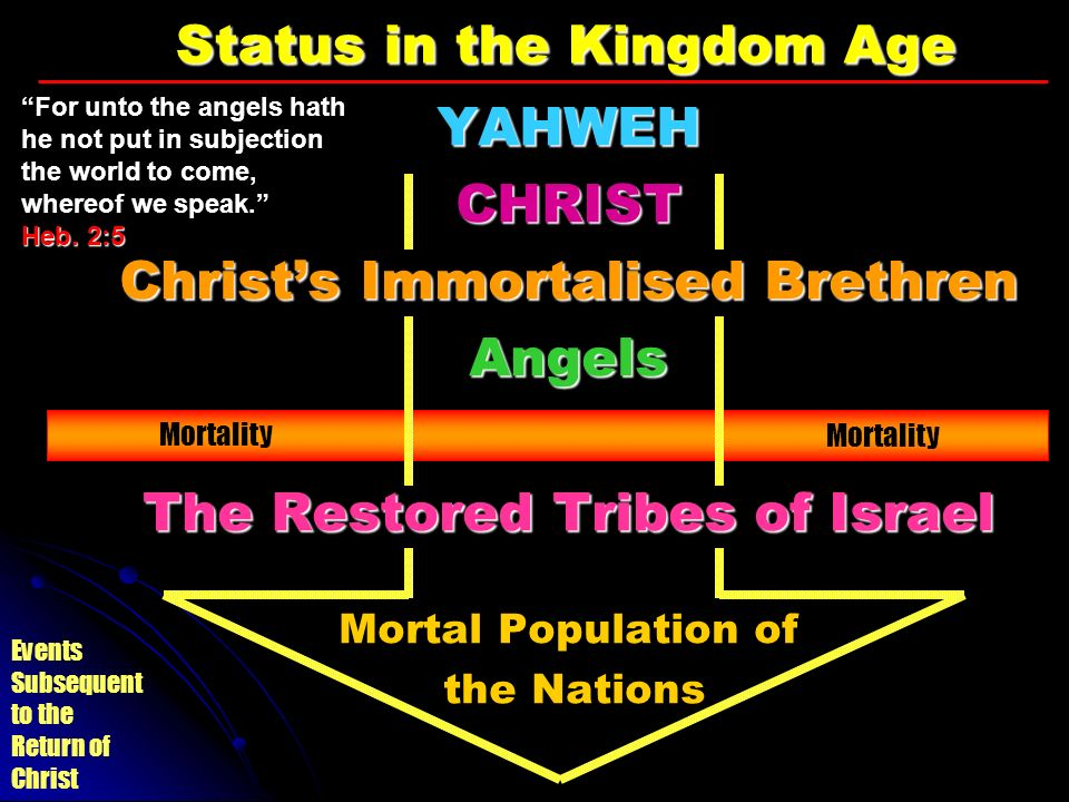 Events Subsequent to the Return of Christ Status in the Kingdom Age YAHWEHCHRIST Christs Immortalised Brethren Angels The Restored Tribes of Israel Mo
