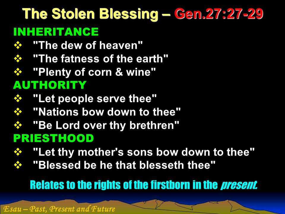 Esau – Past, Present and Future The Stolen Blessing – Gen.27:27-29 INHERITANCE