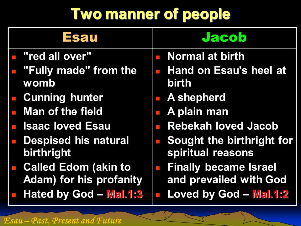 Esau – Past, Present and Future Esau in Manhood Fornicator – a notorious womaniser.
