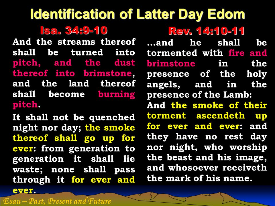 Esau – Past, Present and Future Identification of Latter Day Edom Isa. 34:9-10 And the streams thereof shall be turned into pitch, and the dust thereo