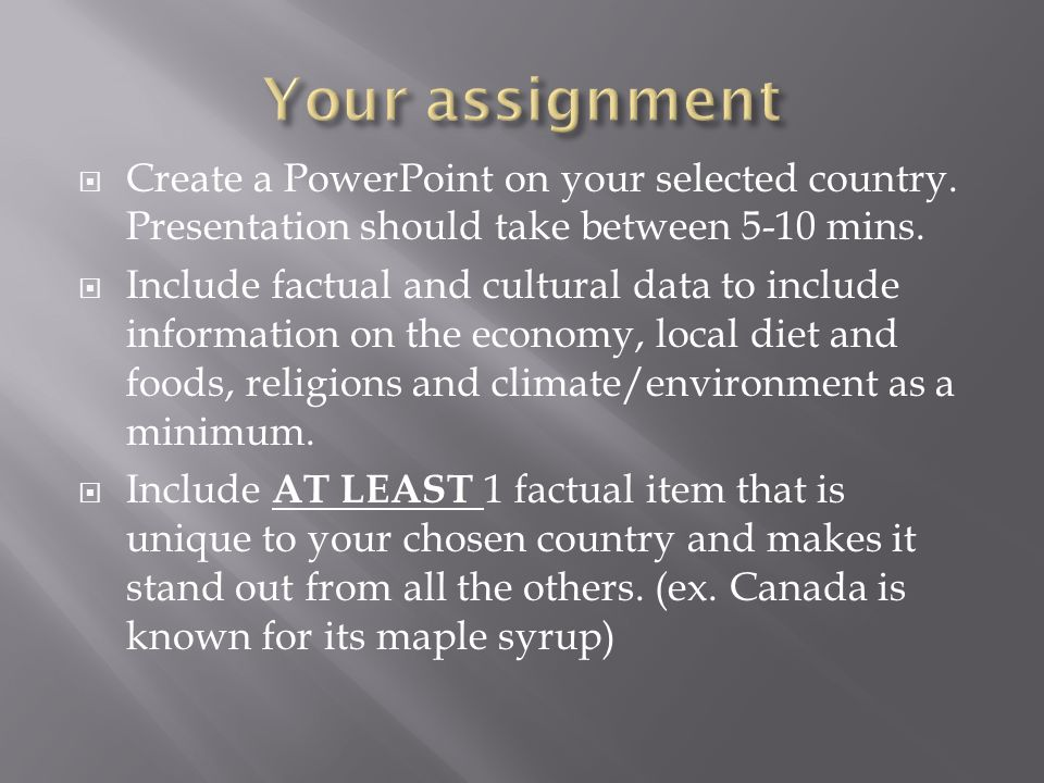 Create a PowerPoint on your selected country. Presentation should take between 5-10 mins.
